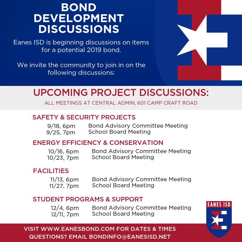 Join us for Bond Development Discussions